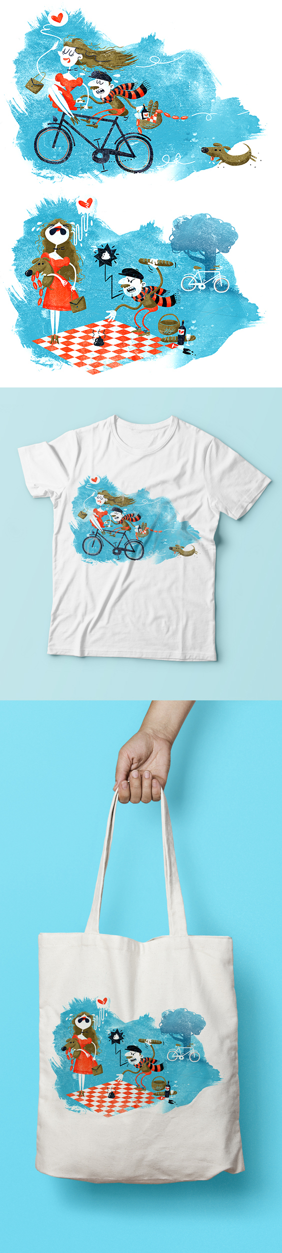 Two whimsical bike illustrations for T-shirt and tote bags. By Stina Norgren